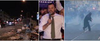 """Napoli, la giornata di protesta tra ragioni e devastazioni. Mentre Salvini promette: """"Se sarò premier via i centri sociali"""""""