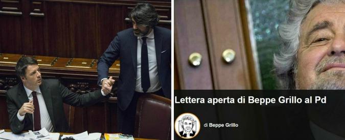 """Grillo, lettera al Pd: """"Siete sottomessi ad un capetto da cortile e io sono despota?"""". La replica: """"Coniglio, scappi sempre"""""""