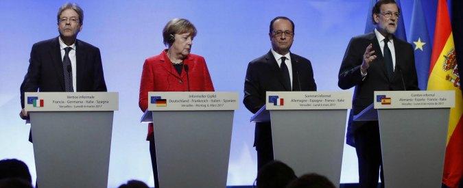 "Ue, Merkel: ""Sì a Europa a due velocità"". Gentiloni: ""Ci siano diversi livelli di integrazione"""