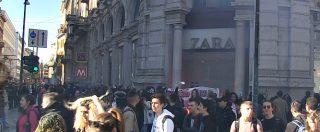 8 marzo, store Zara preso di mira a Milano. Manifestanti contringono la sicurezza ad abbassare le saracinesche