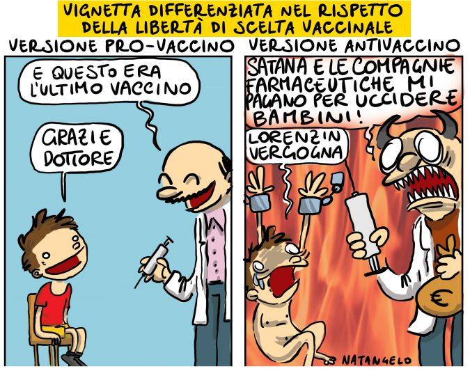 Vignetta differenziata nel rispetto del libertà di scelta vaccinale
