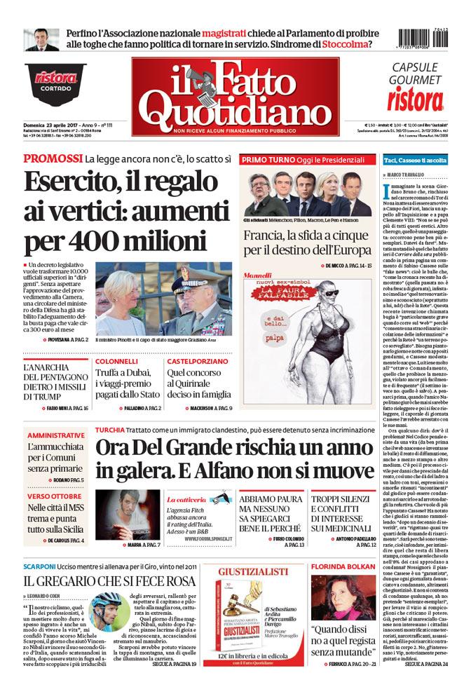 Prima Pagina Il Fatto Quotidiano - Esercito, il regalo ai vertici: aumenti per 400 milioni