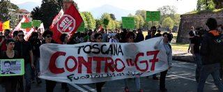 """Lucca, i manifestanti anti-G7: """"Interventismo Usa? Non difende innocenti, crea solo morti dalla Siria a Parigi"""""""