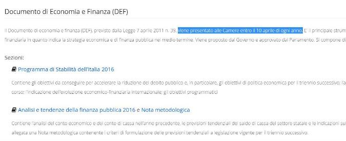 Conti pubblici, Def in ritardo di un giorno: per legge va approvato entro il 10 aprile