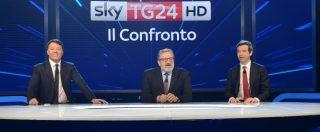 """Primarie Pd, diretta del confronto su Sky. Renzi si accontenta: """"Partecipazione? Sopra a un milione è un successo"""""""