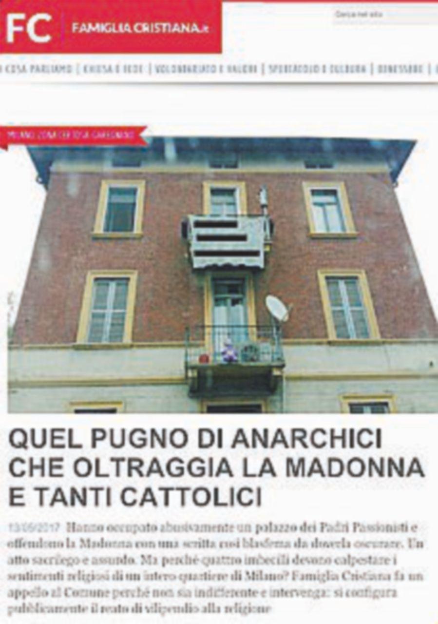 Anarco-occupanti oltraggiano statuetta della Madonna