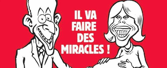 """Charlie Hebdo, copertina con Macron che tocca la pancia di Brigitte incinta e la scritta: """"Farà dei miracoli"""""""