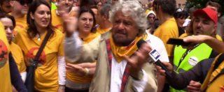 """Marcia M5s per il reddito di cittadinanza, Grillo: """"Siamo noi i veri francescani"""""""