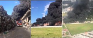 Pomezia, le immagini del rogo alla EcoX. Fumo nero e vigili del fuoco al lavoro