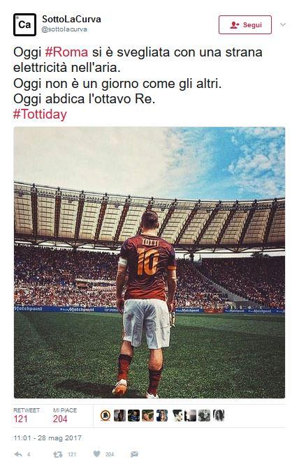 """Francesco Totti, sui social è #TottiDay. Mancini: """"Si resta sempre numeri 10"""". Zanetti: """"Ultimo imperatore di Roma"""""""