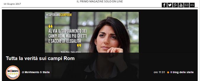 Campi rom a Roma, tutte le falsità del post del Movimento 5stelle