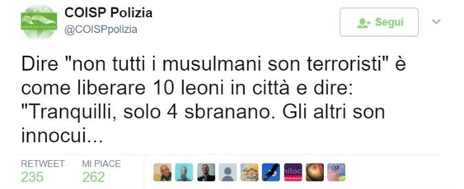 """Attentato Londra, il tweet del Coisp: """"Musulmani non terroristi? È come liberare 10 leoni e dire solo 4 sbranano"""""""