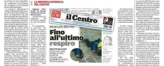 Omicidio D'Elisa, pubblicò foto del corpo: Ordine dei giornalisti del Lazio archivia il fascicolo contro direttore de 'Il Centro'
