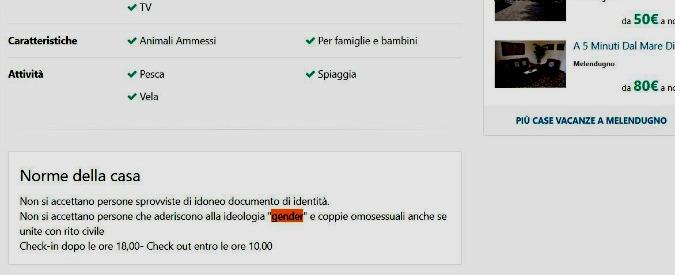 """Salento, Arcigay: """"Annuncio casa vacanze come a Vibo Valentia: non accettano coppie omosessuali"""""""