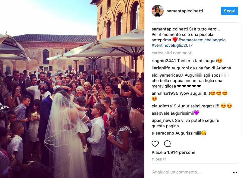 Dal set alle nozze: Michelangelo Tommaso e Samanta Piccinetti sposi a Sinalunga