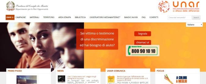 """Unar, Palazzo Chigi ammette: """"Numero verde costoso e poco incisivo, cambierà. La discriminazione si batte con efficienza"""""""
