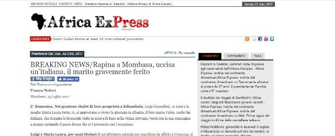 Kenya, coppia di italiani rapinati in villa: uccisa la donna, grave il marito