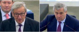 """Ue, si parla di migranti ma l'aula è semi deserta. Scontro in diretta Juncker-Tajani: """"Parlamento ridicolo"""". """"Moderi i termini"""""""