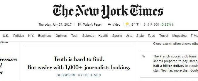 Editoria, il New York Times torna in utile grazie agli abbonamenti digitali