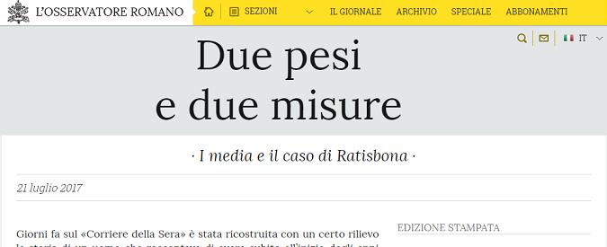 Preti pedofili, per l'Osservatore Romano le violenze di Ratisbona sono cose da caserma