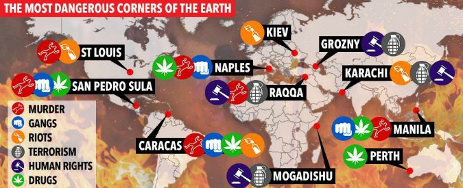 Napoli nella classifica delle 10 città più pericolose del mondo? Retromarcia del Sun: corretta cartina e articolo