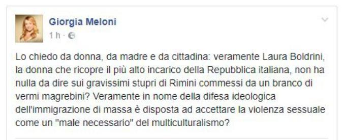 """Rimini, Meloni attacca Boldrini su Facebook: """"Davvero non ha nulla da dire su questi vermi magrebini?"""""""