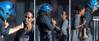 Roma, sgombero migranti: il poliziotto accarezza e consola la richiedente asilo durante gli scontri – FOTOSEQUENZA