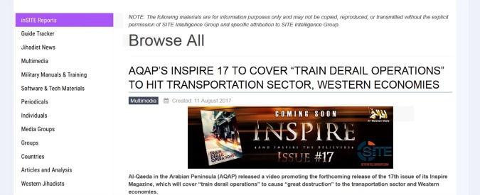 """Al Qaida, nuovo appello ai lupi solitari dell'Occidente: """"Fate deragliare i treni"""""""