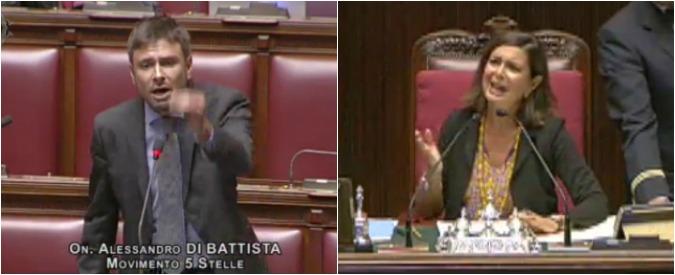 """Vitalizi, scontro Boldrini-5 Stelle sul bilancio della Camera. Di Battista espulso. Il M5s abbandona l'Aula: """"No privilegi"""""""