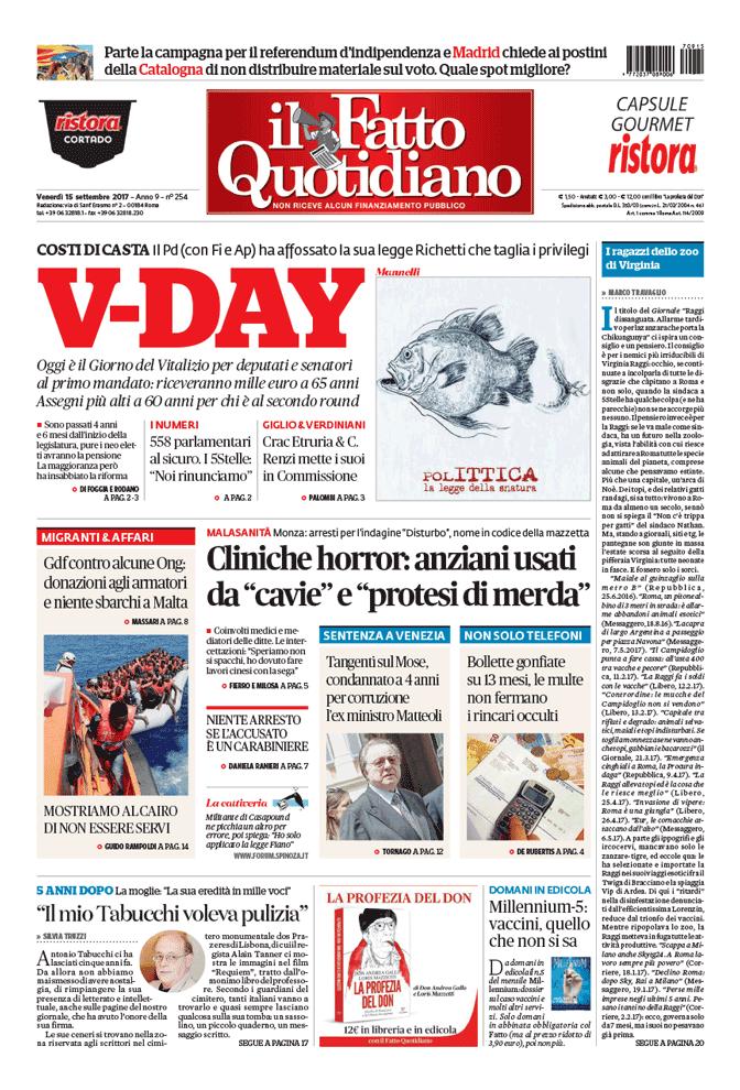 Prima Pagina Il Fatto Quotidiano - V-DAY