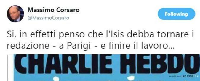 """""""L'Isis torni in redazione a finire il lavoro"""". È il tweet del deputato Massimo Corsaro contro la satira di Charlie Hebdo"""