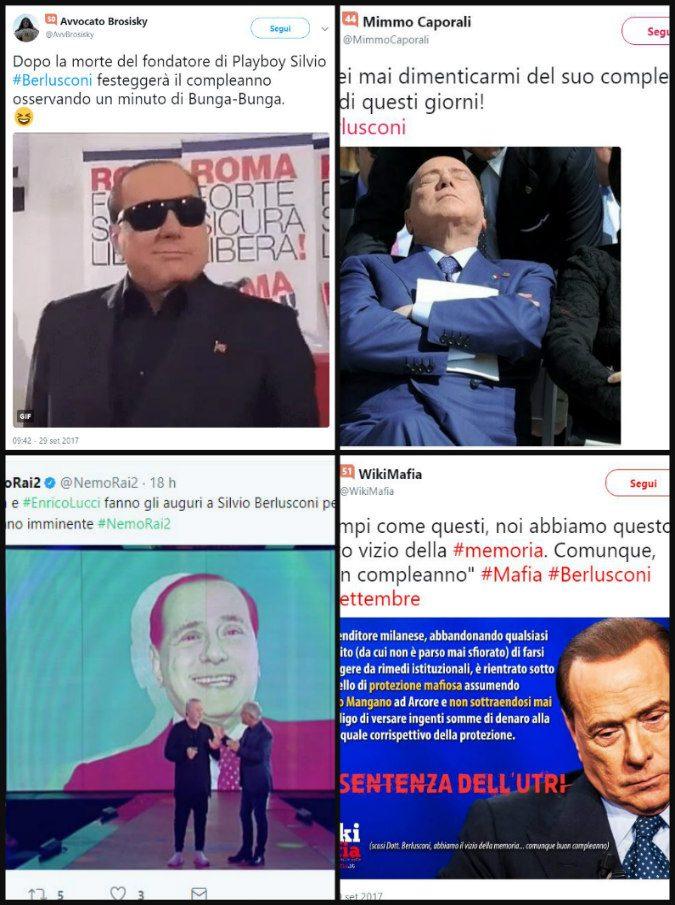 Compleanno di Berlusconi, gli 81 anni festeggiati su Twitter dai fedelissimi e nostalgici [gallery foto]