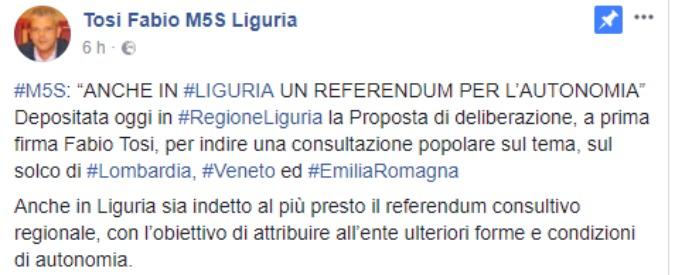 """Liguria, M5s propone un referendum sull'autonomia. Toti: """"Benvenuti nel club"""""""