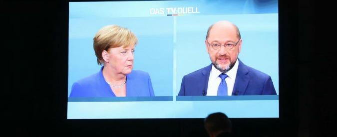 Elezioni Germania, il confronto in tv: Schulz attacca e vince il duello, Merkel si difende e vince nei sondaggi