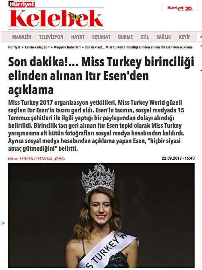 Miss Turchia, tweet ironico sul fallito golpe: perde la corona dopo poche ore