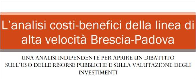 Alta velocità Brescia-Padova, un'analisi economica sarà presentata martedì a Roma