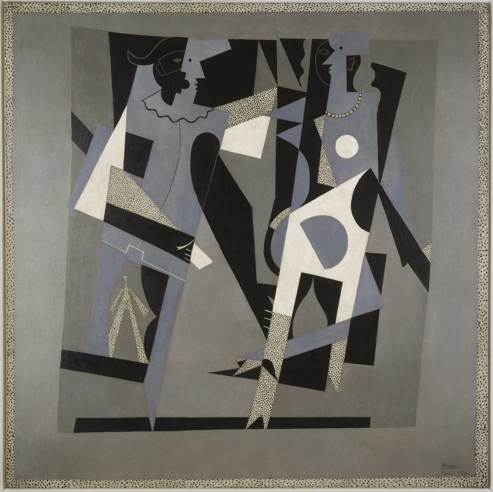 Arlecchino e donna con collana, dipinto, Pablo Picasso (detto), Pablo Ruiz Picasso (1881-1973) pittore , 1917,  Musée National d'Art Moderne Centre Georges Pompidou, Parigi, Francia