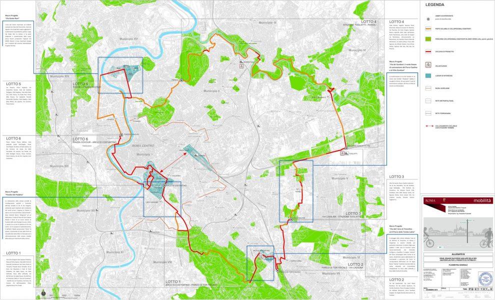 Mappa Grab Comune di Roma: il tracciato del Grab contenuto all'interno del progetto preliminare realizzato da Roma Capitale
