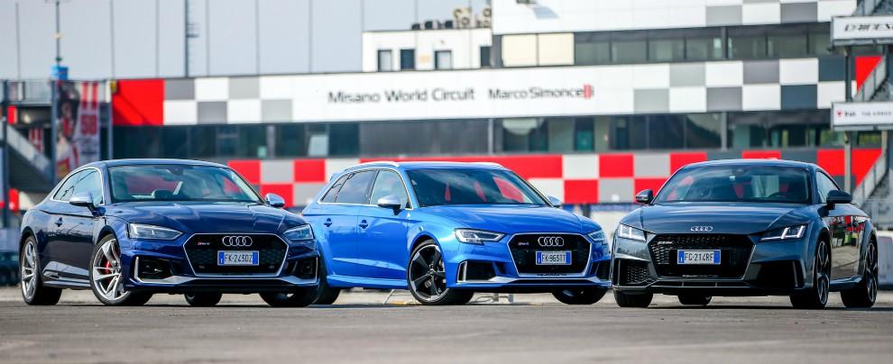 Audi, l'emozione si chiama RS: a spasso sui monti e in pista a Misano, divertimento al top – FOTO