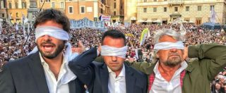 """Rosatellum, Grillo bendato alla piazza M5s: """"Hanno velocità degli scippatori"""". Di Battista: """"Mattarella stia attento"""""""