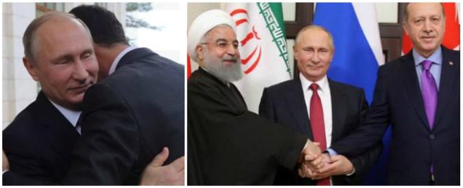 """Siria, foto da Sochi: Putin abbraccia Assad poi vede Erdogan e Rohani. """"E' diventato il primo interlocutore in Medio Oriente"""""""