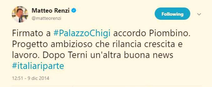 """Acciaierie Piombino, Renzi: """"Fatta una cazzata. Rossi e Landini vollero Rebrab"""". Ma nel 2014 twittava entusiasta"""