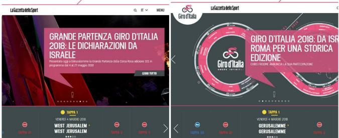 """""""Giro d'Italia, parte da Gerusalemme ovest"""": Israele minaccia di bloccare i finanziamenti, Rcs corregge subito"""