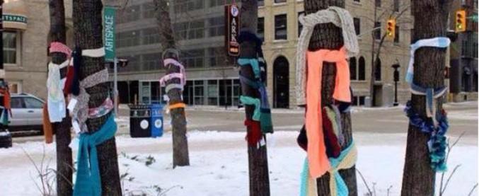 Bologna, in inverno sciarpe attaccate agli alberi o ai pali della luce per i bisognosi