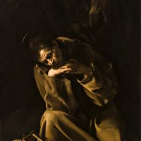 """San Francesco in meditazione – Caravaggio, olio su tela, 128 x 90 cm. Museo Civico, Cremona Sistema Museale della Città di Cremona – Museo Civico """"Ala Ponzone"""""""