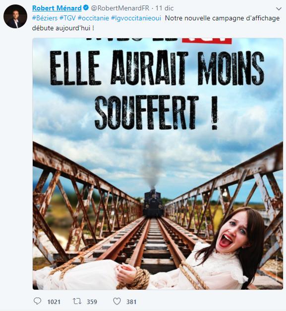 Legata sulle rotaie col treno in arrivo. La pubblicità sessista per il Tgv che indigna i francesi
