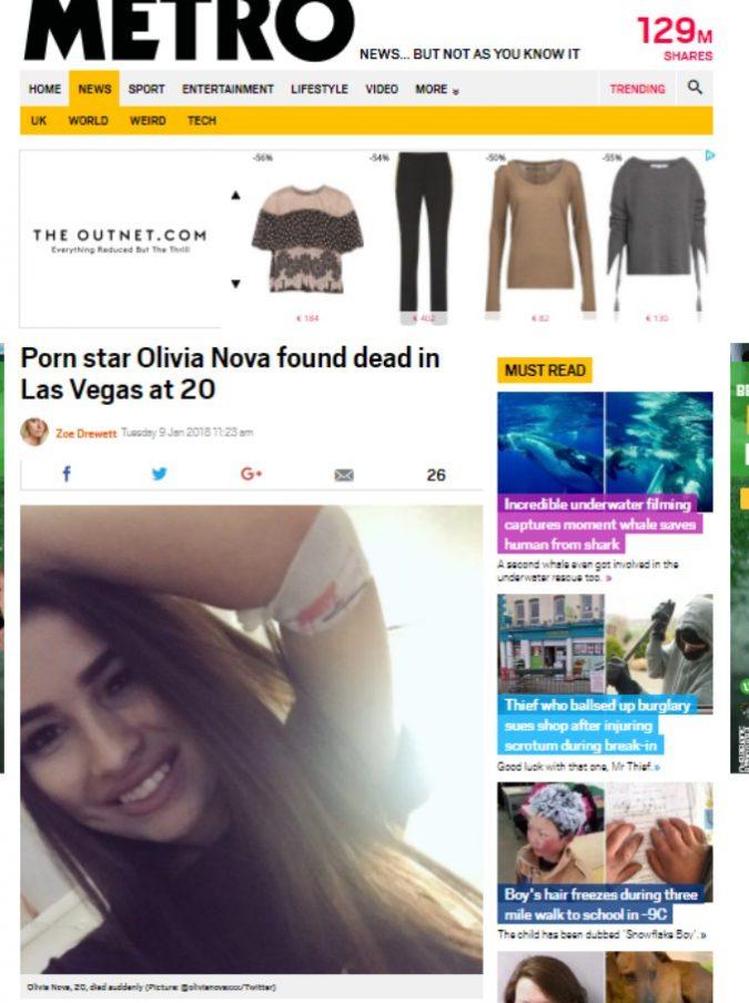 Olivia Nova, trovata morta la giovanissima pornostar. A Natale aveva detto di sentirsi molto sola