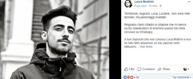 """Fake News, su Whatsapp il finto fratello della Boldrini assunto da Palazzo Chigi. """"Mai i miei parenti nelle istituzioni"""""""