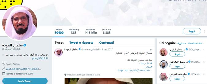 Su Twitter chiede 'armonia' nei rapporti col Qatar, i sauditi lo arrestano