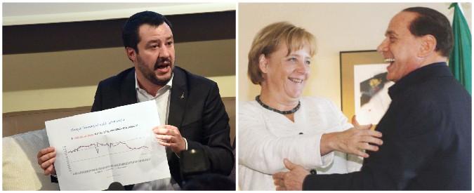 """Elezioni, Bruxelles riabilita Berlusconi europeista. Salvini attacca: """"Il 3%? Non esiste. No a larghe intese volute da Ue"""""""